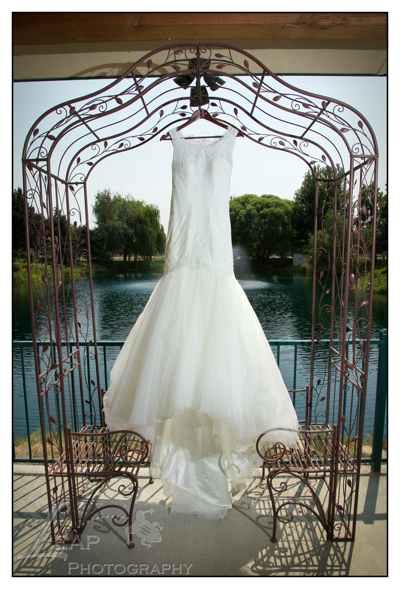 wedding gown on hanger