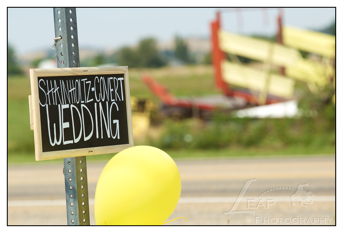wedding sign on roadside