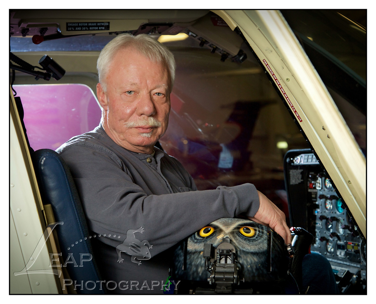 portrait of pilot in helicopter