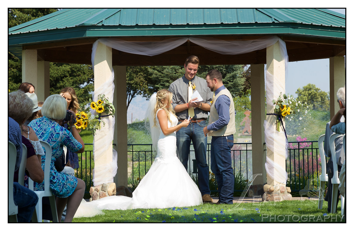 wedding ceremony under gazebo