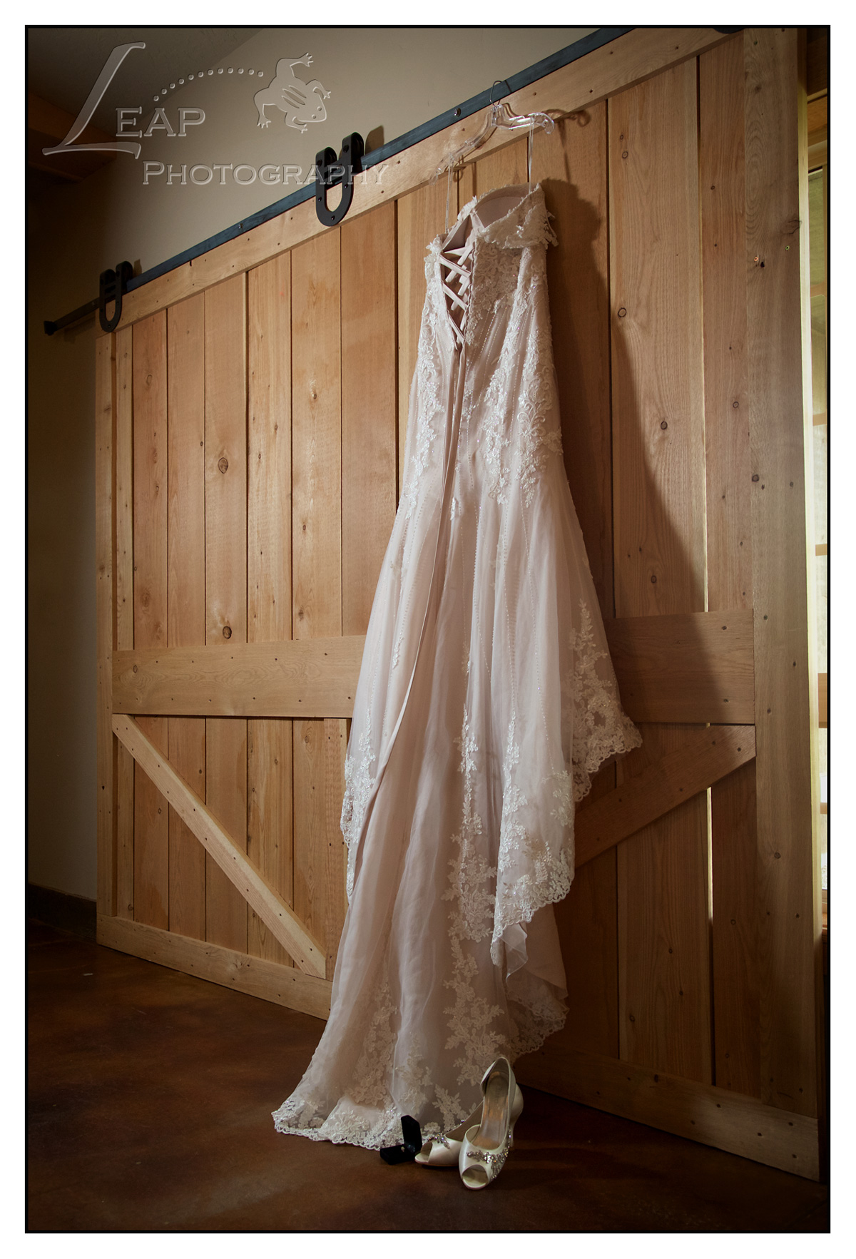 Wedding Gown On Barn Door