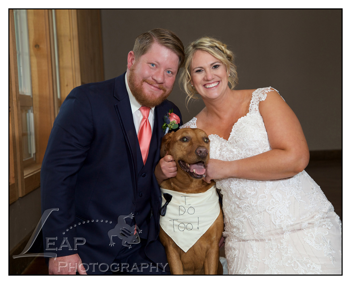 Wedding Picture of couple with their dog