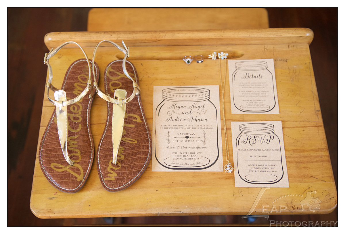 Wedding shoes, invitations and jewelry