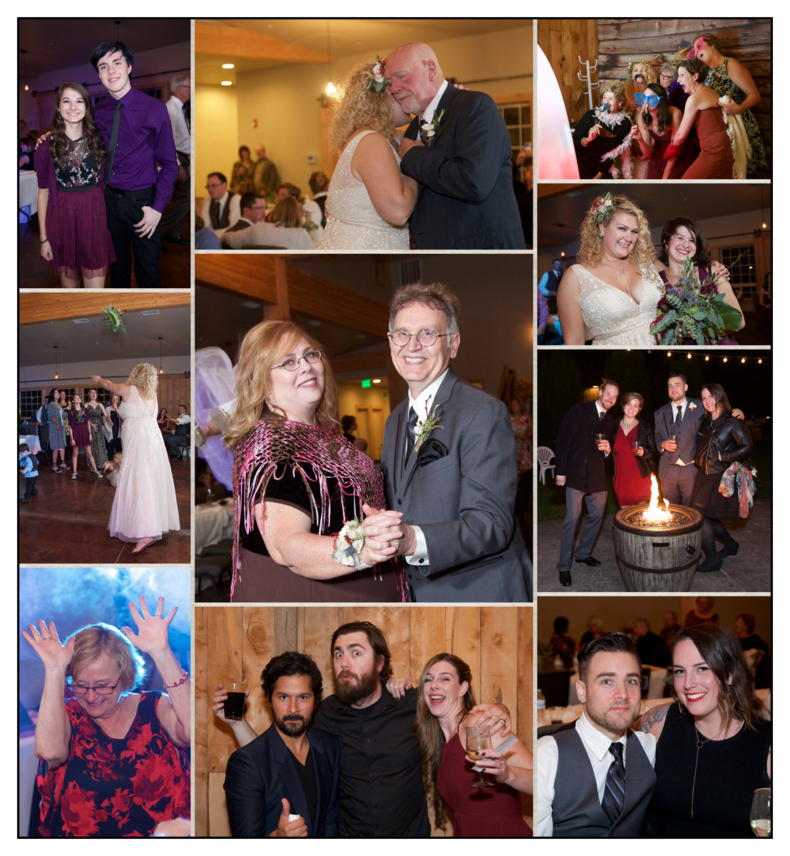 collage of photos from wedding reception