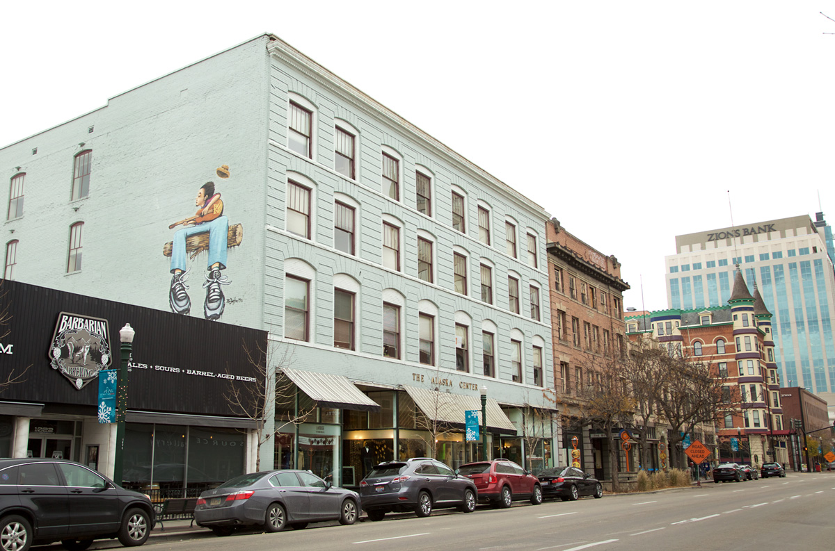 Street view of the side of the Alaska Building in downtown Boise, ID