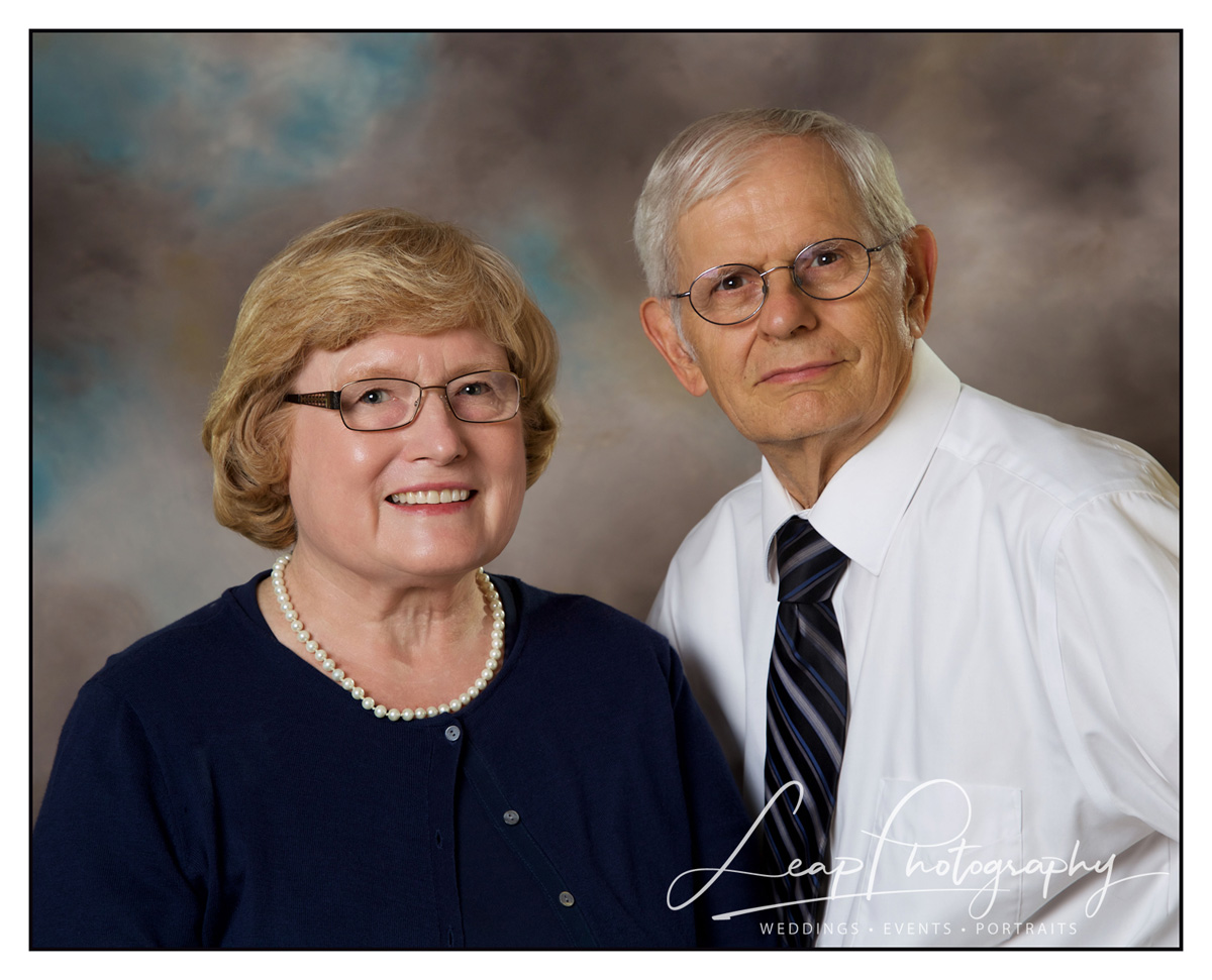 50th Anniversary photo of couple taken in Boise, ID photo studio