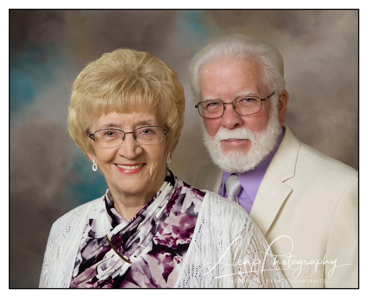 professional photo taken in photo studio of couple on their 60th anniversary