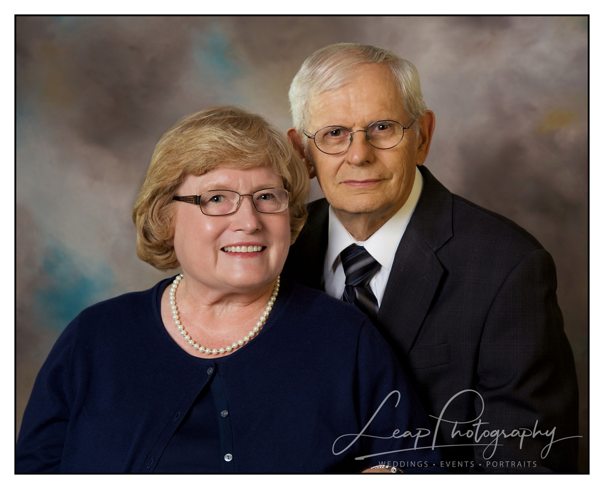 studio portrait of married couple on their 50th Anniversary
