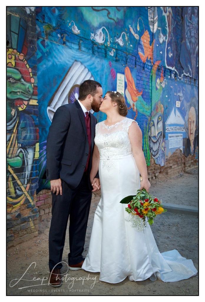 wedding photo in freak alley boise