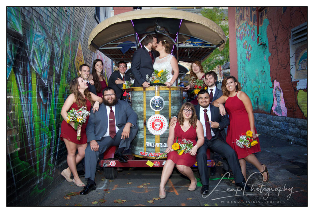 photo of bridal party in freak alley