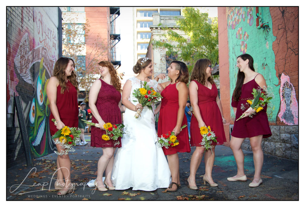 bride and bridesmaids in downtown boise