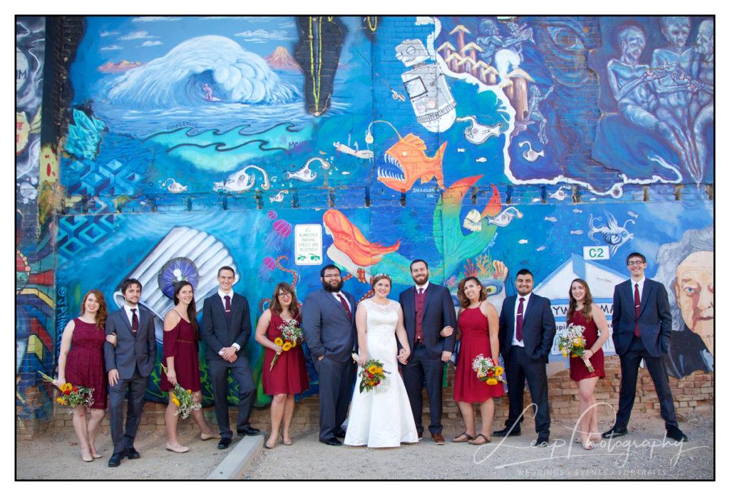 bridal party in freak alley boise