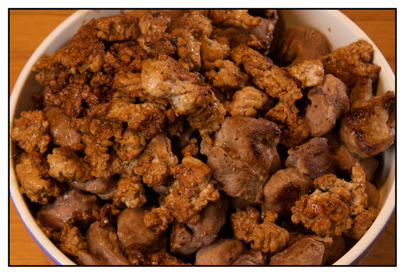 browned meat in bowl