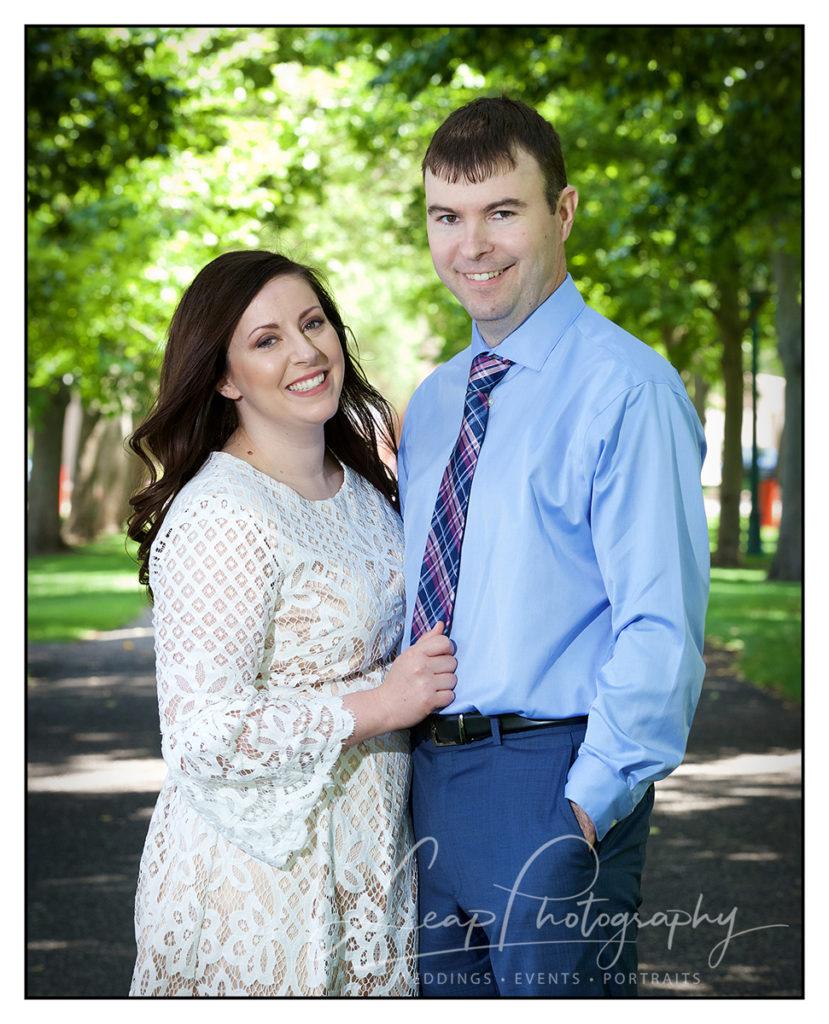 candid elopement portrait inside park