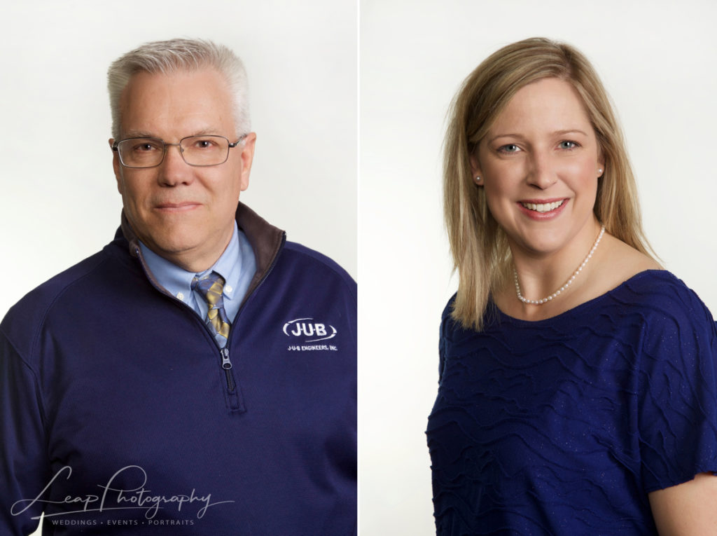 business headshots of a woman and a man taken on a white background