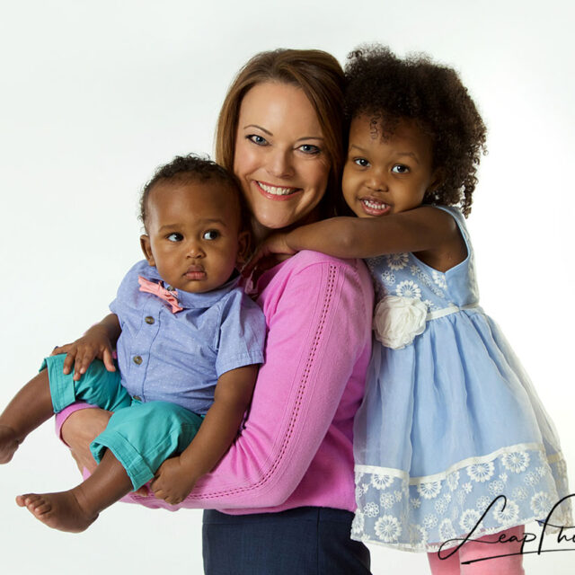 woman and 2 children