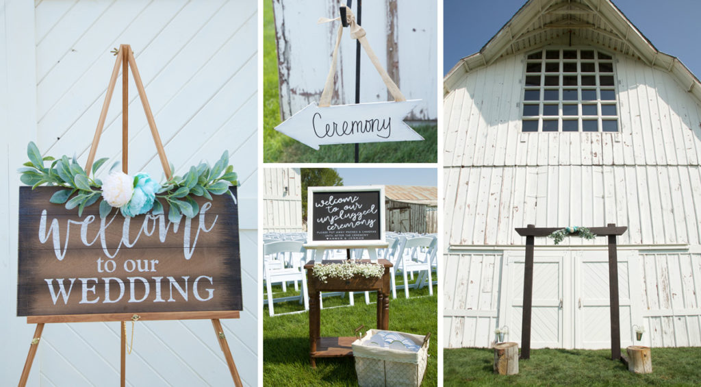 wedding decor at Idaho barn wedding