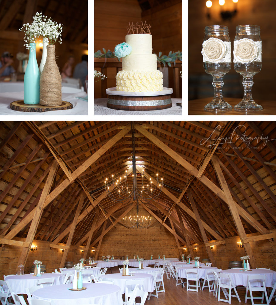 wedding decor at rustic Idaho barn wedding