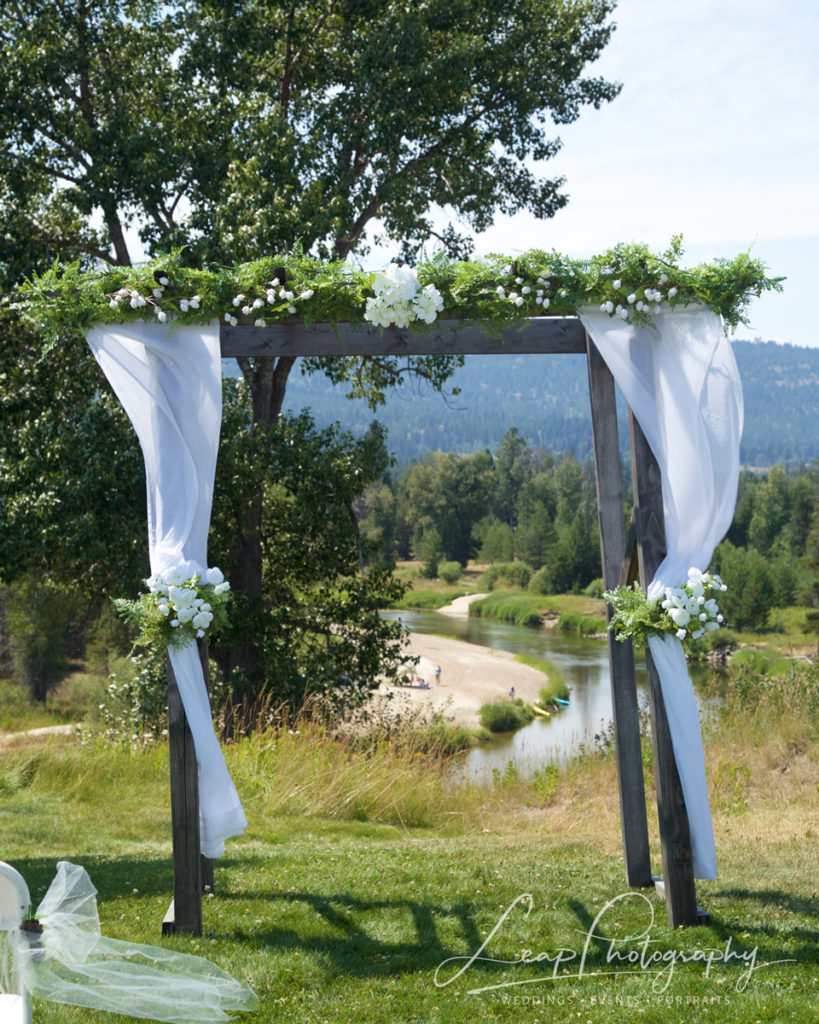 wedding arch decor at Idaho wedding