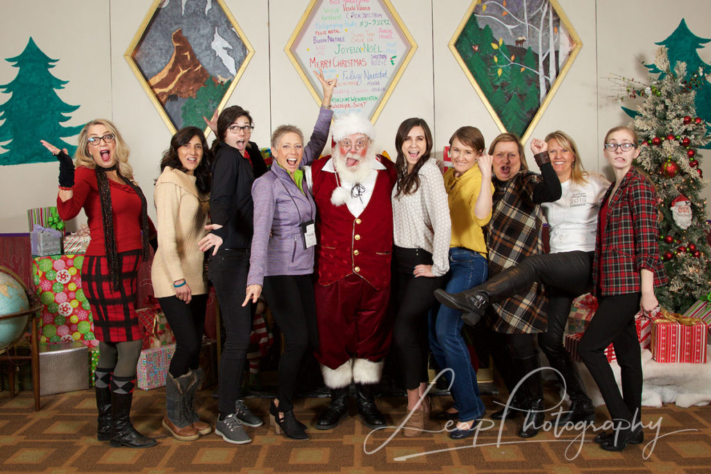 event volunteers with Santa