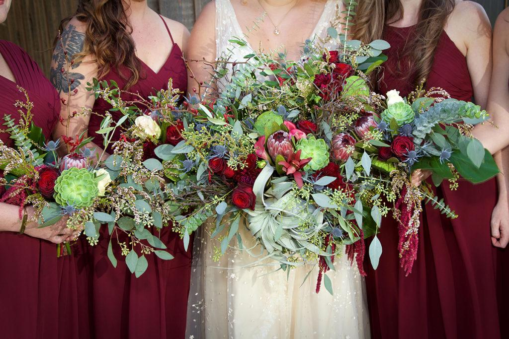bridal party bouquets at a nampa idaho wedding