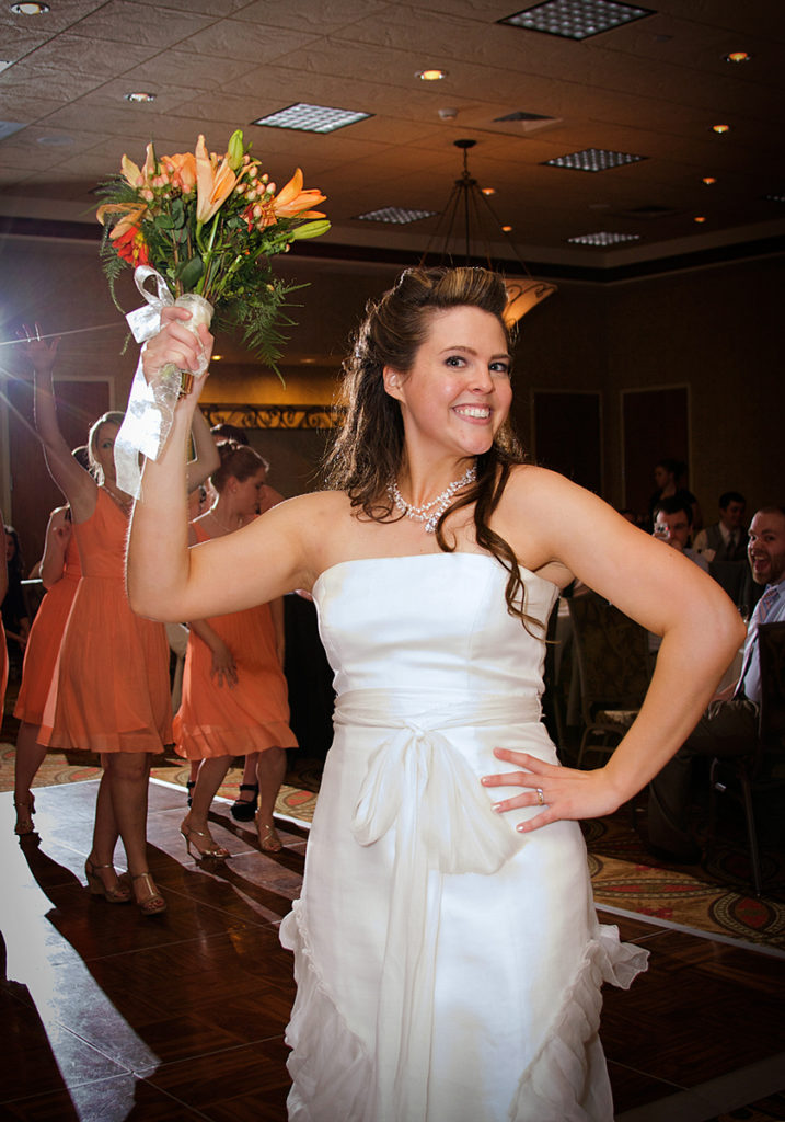 boise bride throwing her bridal bouquet a