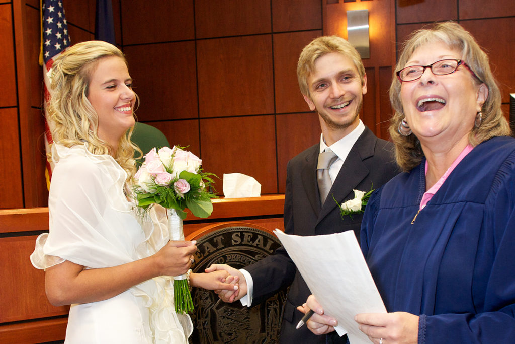 candid photo of courthouse wedding in boise