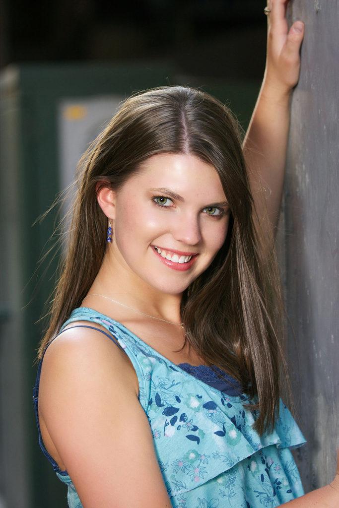 senior photos of female in boise urban setting