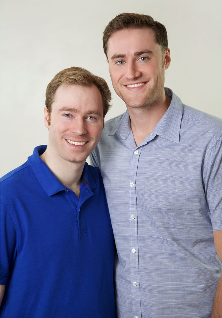 Boise studio portrait of brothers photographed on white savage seamless paper
