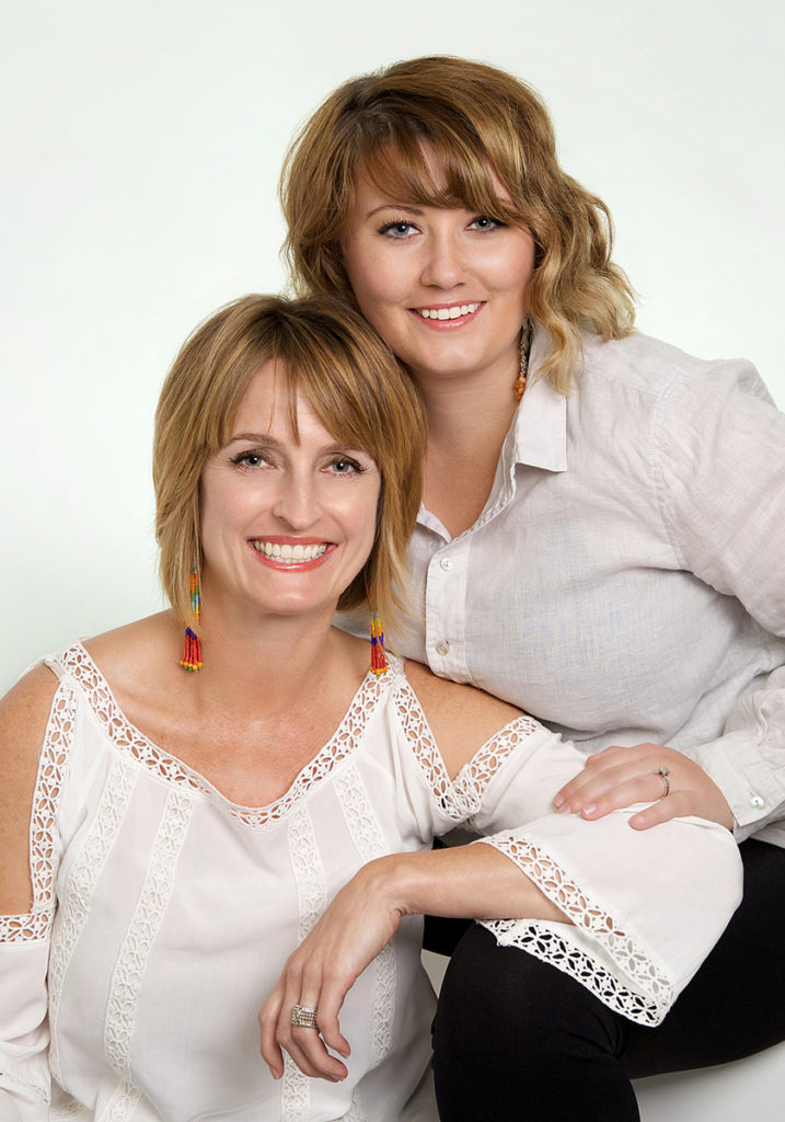 family picture of 2 females in boise photography studio.